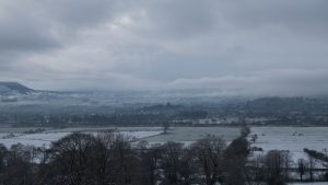 Snowfall over Clitheroe