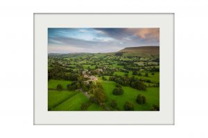 Aerial Downham Mounted Print