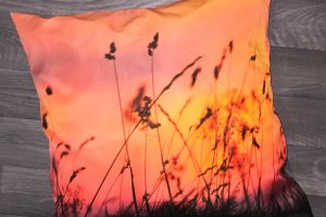 Sunset Grass Throw Pillow